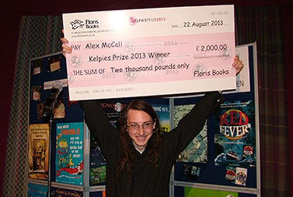 Alex McCall after winning the Kelpies Prize 2013