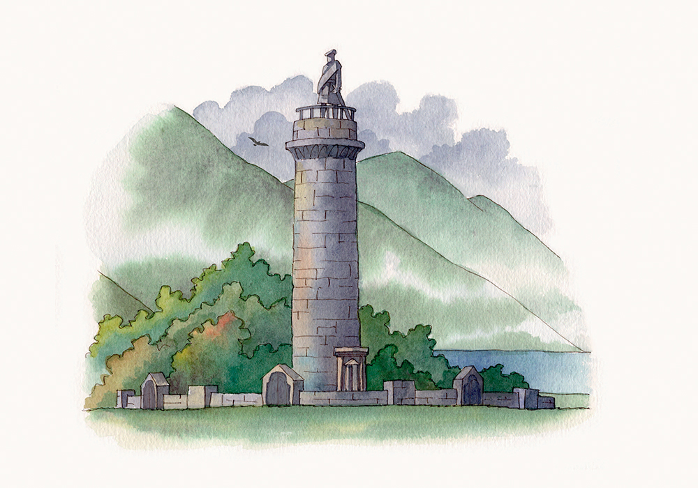 Glenfinnan Monument (Illustration by Alfredo Belli)