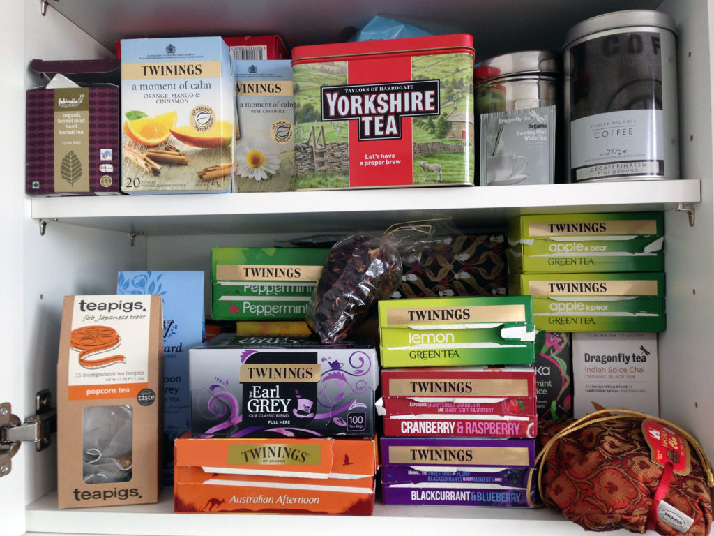 The Floris cupboards are well-stocked with tea rations!