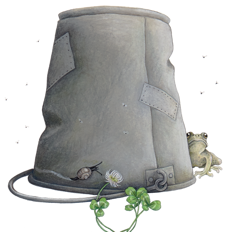 The tin bucket from the privy